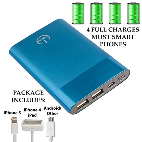"USE AMAZON GIFT CARD NOW SAVE 50%!!! Portable External Battery Charger TRUE-6000 mAh Power Bank. ""Amazon's highest rated charger"". Ultra-Thin with Dual USB Ports and Rapid Charge. Cell Phone and Tablet chargers with Aircraft Grade Aluminum Case. Made for iPhone 6, iphone 5, iPhone 4s, iPad, iPod, Galaxy S3, S4, HTC, Android Smart Phones, Tablets, Digital Cameras, XBOX, Play Station Controllers, Camcorder, GoPro. 3 in 1 charging cable included. Extended Lifetime Warranty Valued at $19.99 FREE! (Electric Blue) GREAT STOCKING STUFFERS"