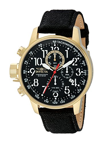Invicta Men's 1515 I Force Collection 18k Gold Ion-Plated Watch with Black Cloth-Covered Band