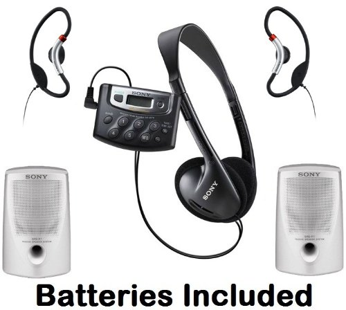 Sony Walkman Digital Tuning Palm Size AM/FM Stereo Radio with Weather Band, 20 Station Preset Memory, DX Switch for Exceptional Reception, Belt Clip, Over the Head Stereo Headphones, Soft Loop Active Style On The Ear Headphones & Passive Lightweight Porta