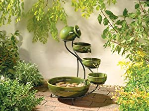 Green Ceramic Cascade Solar Fountain