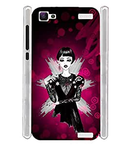 Black Frock Girl Soft Silicon Rubberized Back Case Cover for Vivo V1 Max