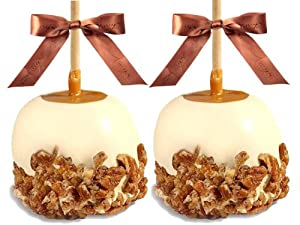 Gourmet Caramel Apples - Chocolate Dunked and Candy Coated Gifts, Set of 2 White Chocolate with Cinnamon Pecans