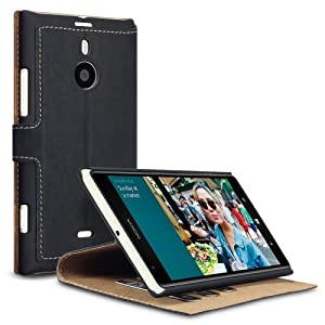 Nokia Lumia 1520 Low Profile Faux Leather Wallet Case with Viewing Stand - Black By Covert