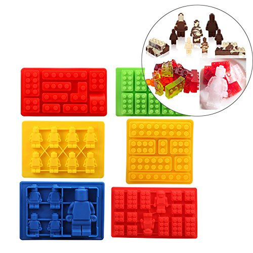 Minifigure Silicone Ice Tray Candy Chocolate Mold - 6 Pcs
