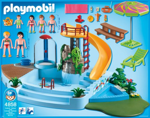 Playmobil 4858 pool with water slide at shop ireland for Blue water parts piscine