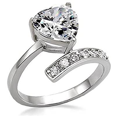 YourJewelleryBox TK009PB 2.4CTWOMENS HEART ENGAGEMENT SIMULATED DIAMOND RING STAINLESS STEEL