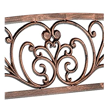 Plow & Hearth Blooming Patio Garden Bench Park Yard Outdoor Furniture, Iron Metal Frame, Elegant Bronze Finish, Easy Assembly 50 in L x 17 1/2 in W x 34 1/2 in H