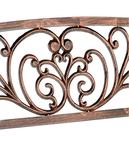 Plow & Hearth Blooming Patio Garden Bench Park Yard Outdoor Furniture, Iron Metal Frame, Elegant Bronze Finish, Easy Assembly 50 in L x 17 1/2 in W x 34 1/2 in H 1