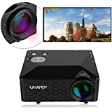 Uhappy Mini LED Projector for iPhone iPad Home Theatre Cinema 320x240 with AV/VGA/USB/SD/HDMI Input (Black)