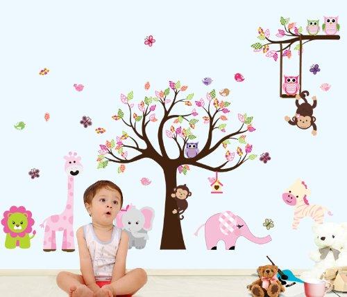 Bosque de monos de animal de la selva, la ardilla y el juego de columpio b�ho en hojas de colores Tree Vinilos decorativos etiqueta de la pared (L301)
