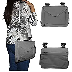 DMG Padwa Lifestyle Shockproof Soft Sleeve Pouch Carrying Envelope Bag canvas Case with Handle and Shoulder Strap for 10in Tablets/Netbooks/iPad/Android Tablets (Grey)