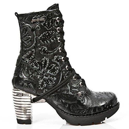 NEWROCK NEW ROCK TR001 - S24 Vintageune fiore nero d'acciaio del tacco gotiche STIVALI 41