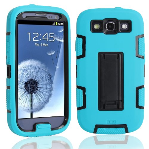 Magicsky Robot Series Hybrid Armored Case With Kickstand For Samsung Galaxy Iii S3 I9300 - 1 Pack - Retail Packaging - Black/Blue