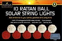 Garden kraft 19520 Benross LED Rattan Ball Solar String Lights - Red and Cream (Set of 10) from Benross Group