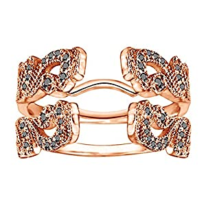 0.49CT Black Diamonds Vintage Style Filigree Millgrained Ring Guard set in Rose Gold Plated Sterling Silver (0.49CT TWT Black Diamonds)