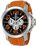 TW Steel Unisex Quartz Watch with Black Dial Chronograph Display and Orange Leather Strap TW53