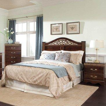 Standard Furniture Odessa 3 Piece Headboard Bedroom Set in Cherry Brown