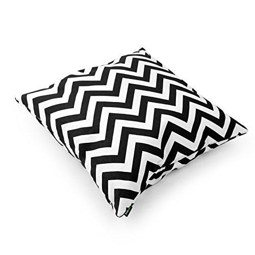 Laviervert quadratischer Kissenbezug, Zickzack Fraktalbildmuster Kissenhülle aus Baumwolle und Segeltuch mit schwarz-weiß Streifen,40.5 X 40.5 cm -