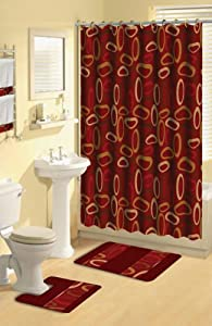 Modern Geometric Burgundy Rings 17 Piece Bath Rug Shower Curtain Hooks Towel Set