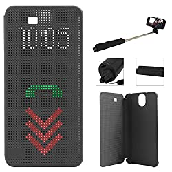 DMG Dot View Interactive Flip Cover Case for HTC One E9 Plus (Black) + Wireless Bluetooth Selfie Stick with Image Zoom