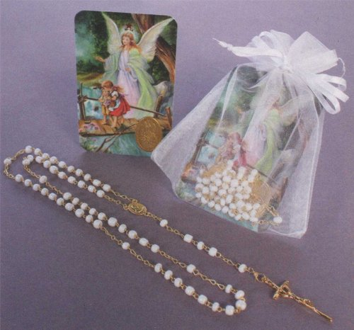 Baptism Remembrance - Gold Plated Rosary in White Gift Package with Guardian Angel Gift Card