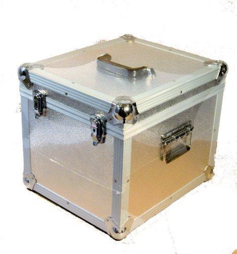 Aktisk Boîte de rangement carrée pour disques vinyles Capacité 100 disques Argenté