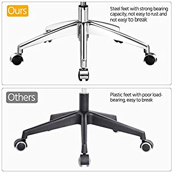 Yaheetech High Back Mesh Office Chair Ergonomic Computer Desk Chair -Stainless Steel Base/Seat Height/Headrest/Armrest/Angle of Backrest Adjustbale with Tilt Tension Control Knob