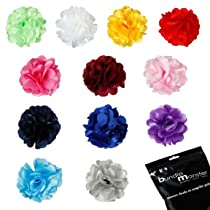 Bundle Monster Multicolor Satin Peony Flower Hair Clip/Brooch Pin Mixed Lot for Girls- Fits All Ages