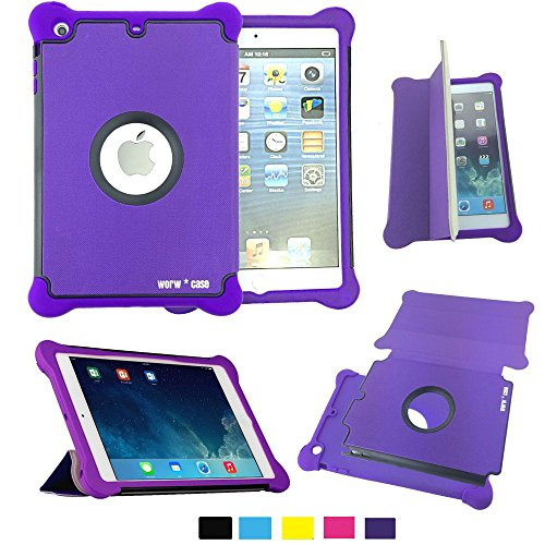Worw Ipad Mini /Mini 2 Case - Prime Series Folio Leather Flip Smart Cover & Silicone Armor Shockproof Magnetic Case For Apple Ipad Mini 7.9 Inch Tablet - Built-In Book Shell Stand & Auto Wake/Sleep Function - Retail Package (Purple)