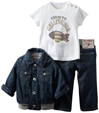 True Religion Unisex-Baby Infant 3 Piece Box Set, Body Rinse, 6-12 Months