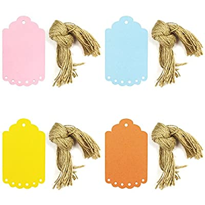 Wrapables Washi Tape + 40 Scalloped Gift Tags with Cut Strings, Ready Set Go, Large, Multicolor, Set of 6