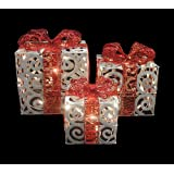 Set of 3 Sparkling White Swirl Gift Boxes Lighted Christmas Yard Art Decorations