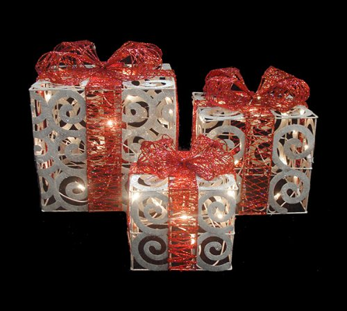 set of 3 sparkling white swirl gift boxes lighted christmas yard art decorations set of 3 lighted white gift boxes christmas yard art - Lighted Christmas Presents