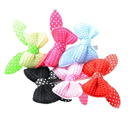 6d Pets Lovely Bowknot Dog Cat Head Hairpin Handmade Hair Clip 5 Pcs(random color)