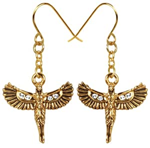 Egyptian Opened Wings Isis Accent Dangle Dangling Earrings Set Ancient Egypt Accent Jewelry