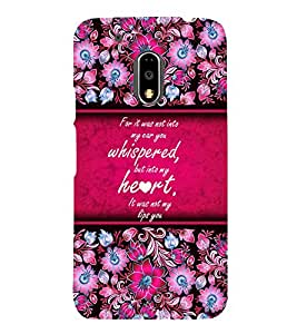 Beautiful Love Quote Cute Fashion 3D Hard Polycarbonate Designer Back Case Cover for Motorola Moto G4 Play