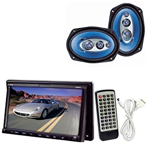 Pyle Vehicle Audio System for Car, Van, Truck, Mobile etc. - PLDN73I 7'' Double DIN TFT Touch Screen DVD/VCD/CD/MP3/MP4/CD-R/USB/SD/SDHC-MMC Card Slot/AM/FM/iPod/iPhone Connector - PL6984BL 6''x 9'' 400 Watt Four-Way Speakers (Pair)