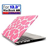 LEIMI ® AIR 13-inch Rubberized Hard Matte Case Cover for Apple MacBook Air 13.3 (Models: A1369 and A1466) (New- Pink Giraffe)