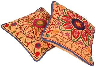 Broderie florale travail Coussin design de couverture 16 par 16 pouces Set 2 Pcs