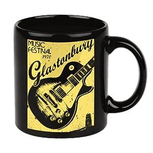 Vintage Coffee Mugs for Music Lovers GLASTONBURY Rock Guitar Large Mug Black