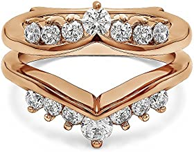 10k Gold Chevron Ring Guard Enhancer with Diamonds 1 ct twt