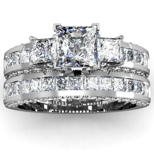 2 Ct Princess Cut 3 Three Stone Diamond Engagement Wedding Rings Pave Channel Set 14K Gold SI2