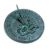 Rome 2532 Hummingbird Sundial, Cast Iron with Verdigris Finish, 7.5-Inch Diameter
