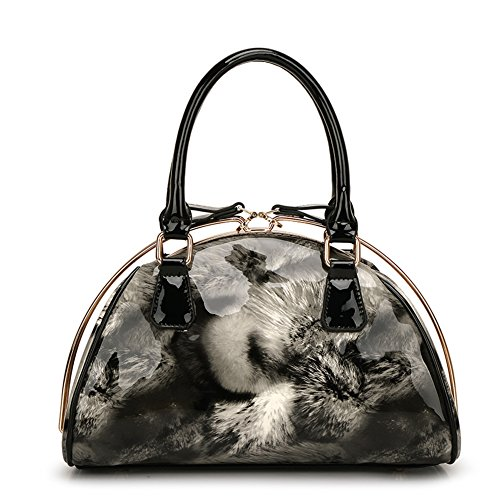 Pu Leather Clutch Cross-Body Shoulder Wristlet Handbag0314163 (Black)