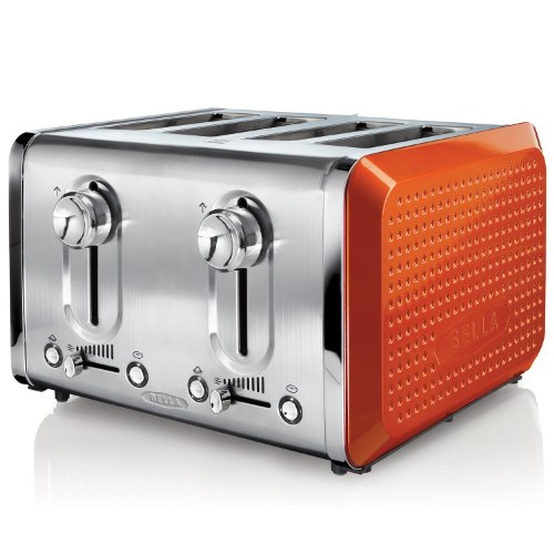 Bella 13792 Dots Collection 4-Slice Toaster, Orange
