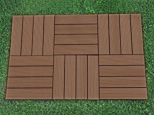Abba patio outdoor living 12 x 12 inch composite interlocking decking tile with parallel design - Interlocking deck tiles on grass ...
