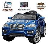 BMW X6 Azul Lacado, Asiento Tapizado, Los niños del coche, los niños del coche eléctrico, coche niños, 2x motor, batería de 12 V, con mando a distancia