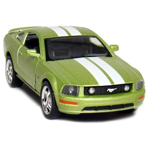 "5"" 2006 Ford Mustang GT with Stripes 1:38 Scale (Green) - 1"