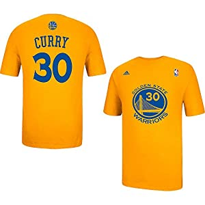 Golden State Warriors Stephen Curry Gold Name and Number Gametime T Shirt by adidas