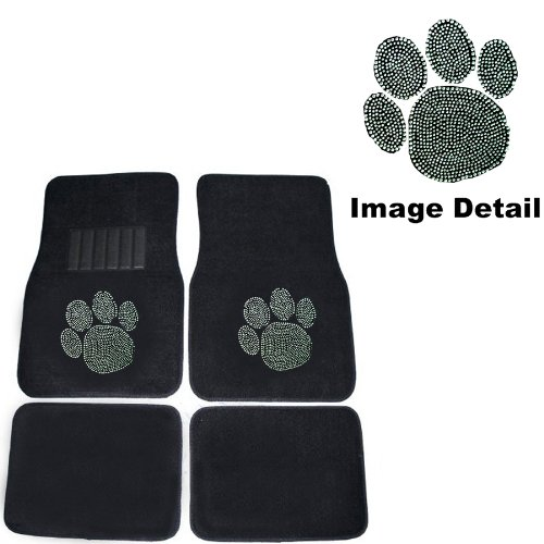 Animal Paw Cute Gem Crystal Studded Rhinestone Car Truck Suv Front & Rear Seat Carpet Floor Mats - 4Pc front-68671
